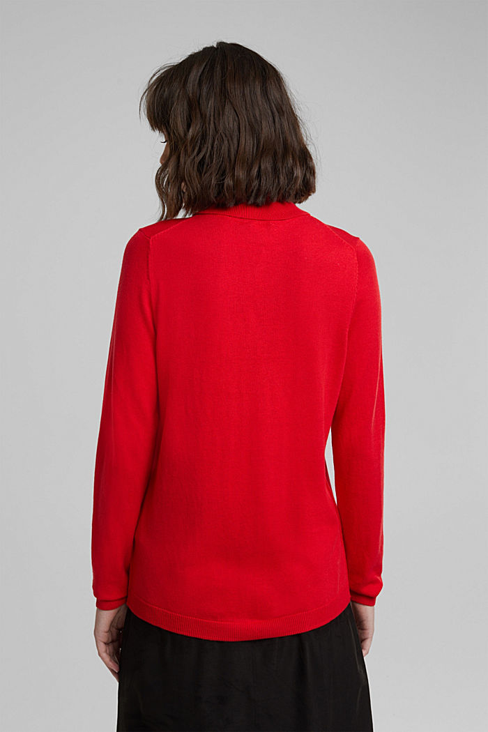Polo neck jumper with organic cotton, RED, detail image number 3