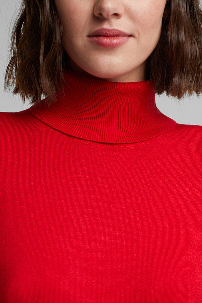 Polo neck jumper with organic cotton, RED, detail image number 2