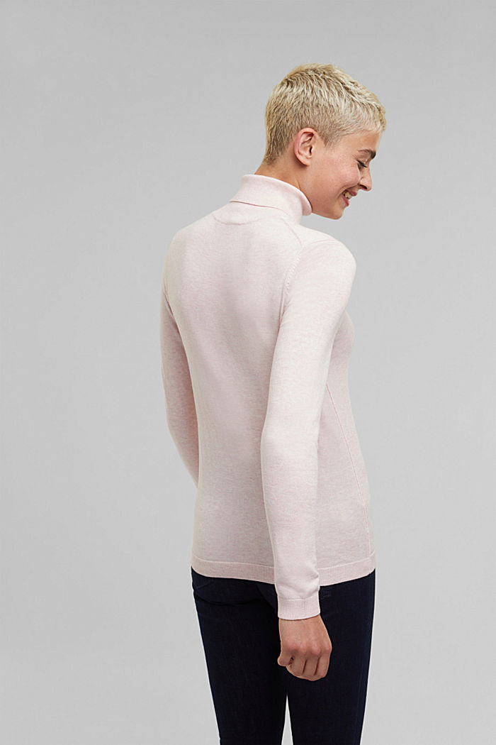 Polo neck jumper with organic cotton, LIGHT PINK, detail image number 3