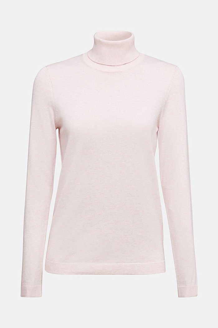 Polo neck jumper with organic cotton, LIGHT PINK, detail image number 6