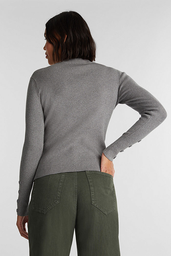 Jumper with a stand-up collar and organic cotton, GUNMETAL, detail image number 3