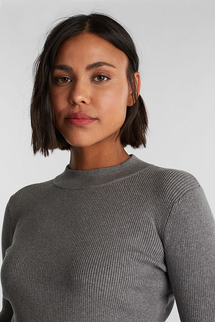 Jumper with a stand-up collar and organic cotton, GUNMETAL, detail image number 5