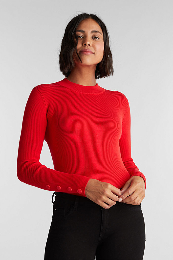 Jumper with a stand-up collar and organic cotton, RED, detail image number 0