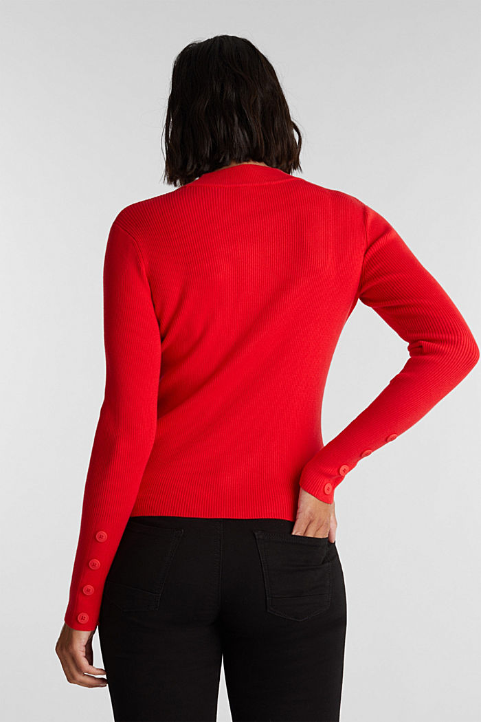 Jumper with a stand-up collar and organic cotton, RED, detail image number 3