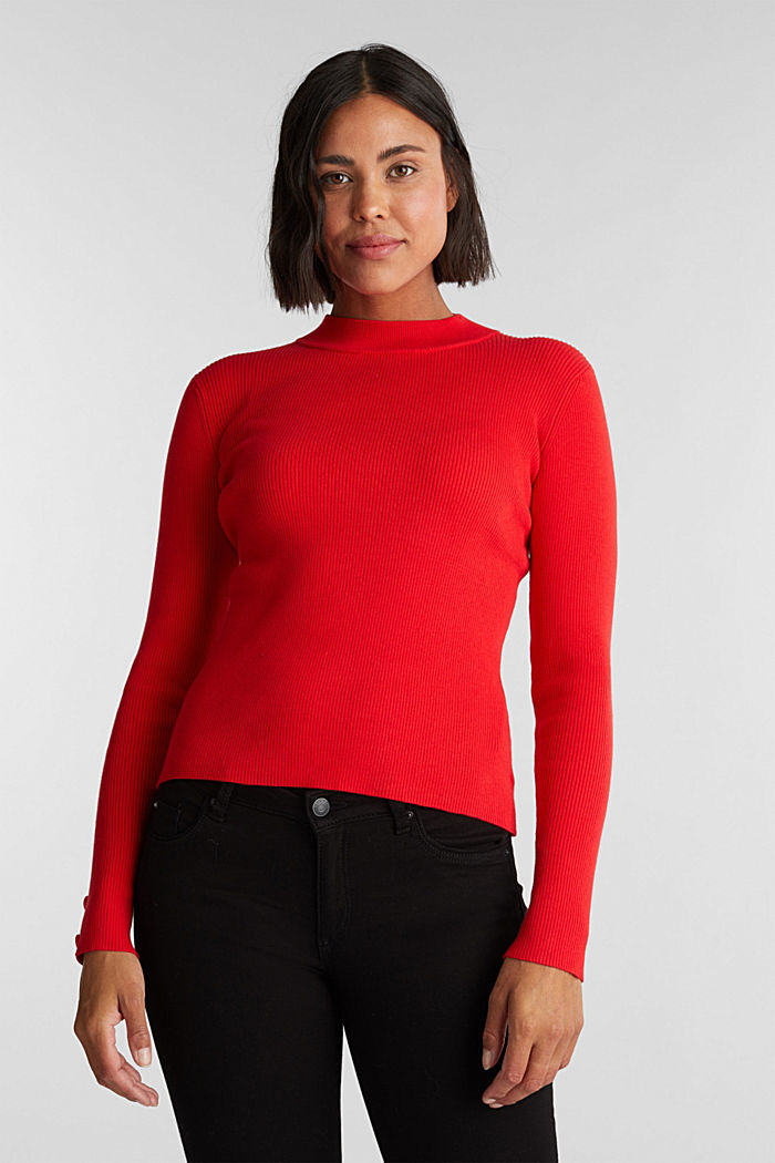 Jumper with a stand-up collar and organic cotton, RED, detail image number 5