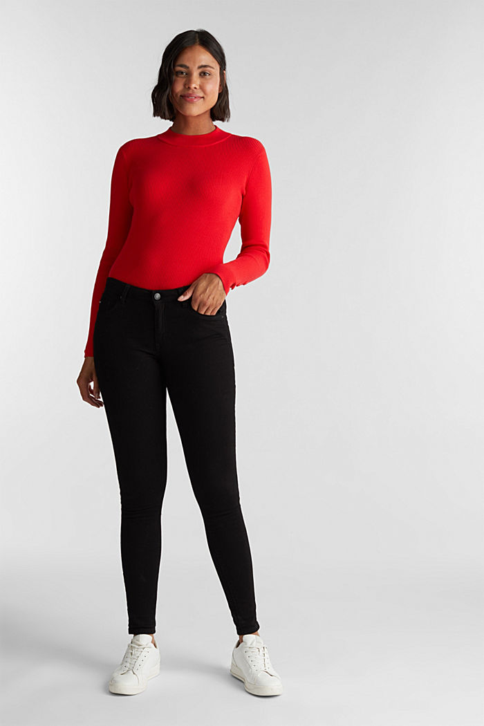 Jumper with a stand-up collar and organic cotton, RED, detail image number 1