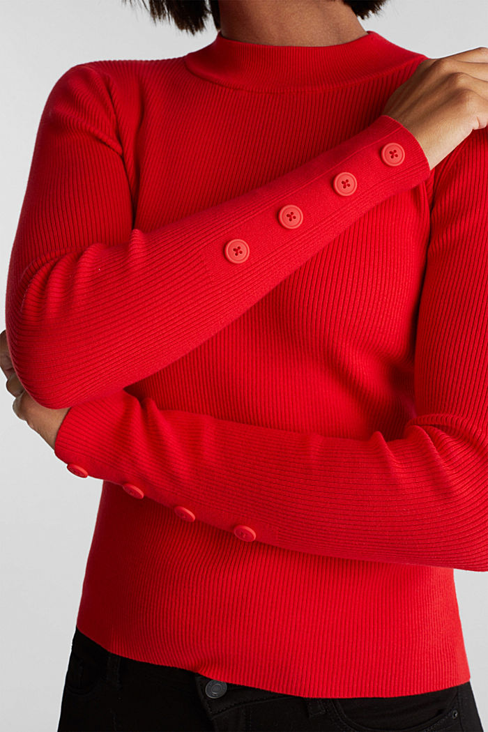 Jumper with a stand-up collar and organic cotton, RED, detail image number 2