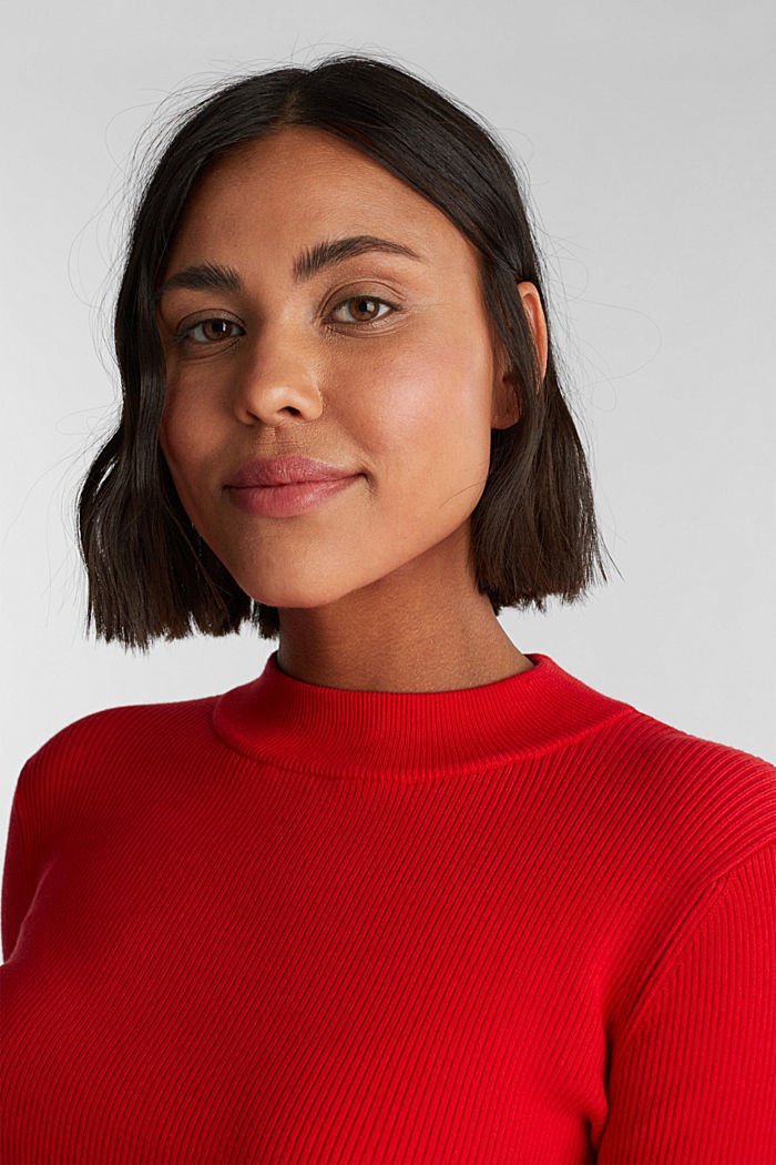 Jumper with a stand-up collar and organic cotton, RED, detail image number 6