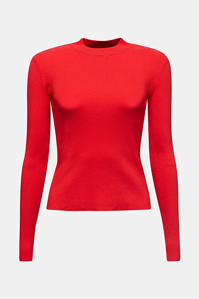 Jumper with a stand-up collar and organic cotton, RED, detail image number 7