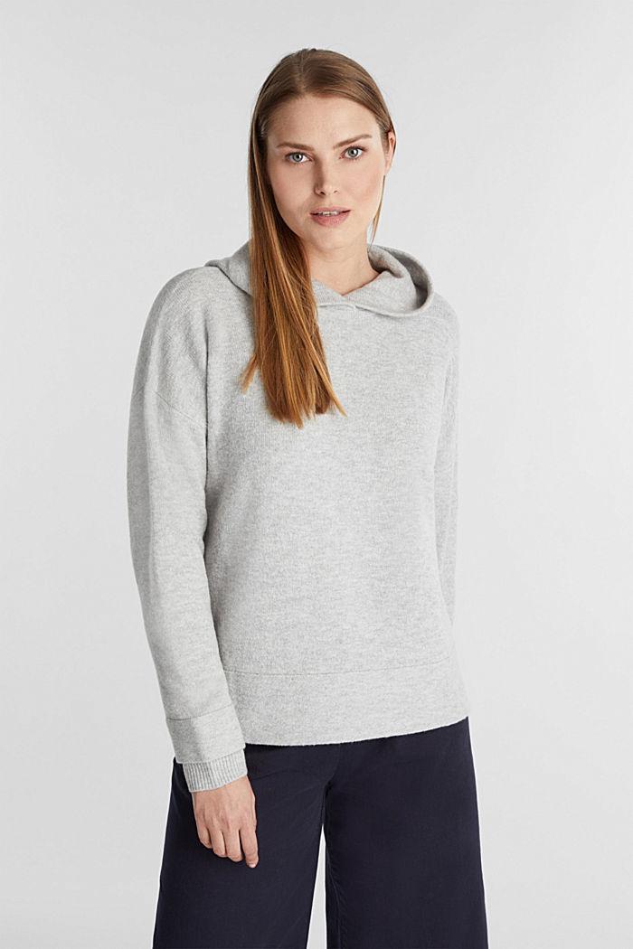 Stretch wool hoodie, LIGHT GREY, detail image number 0