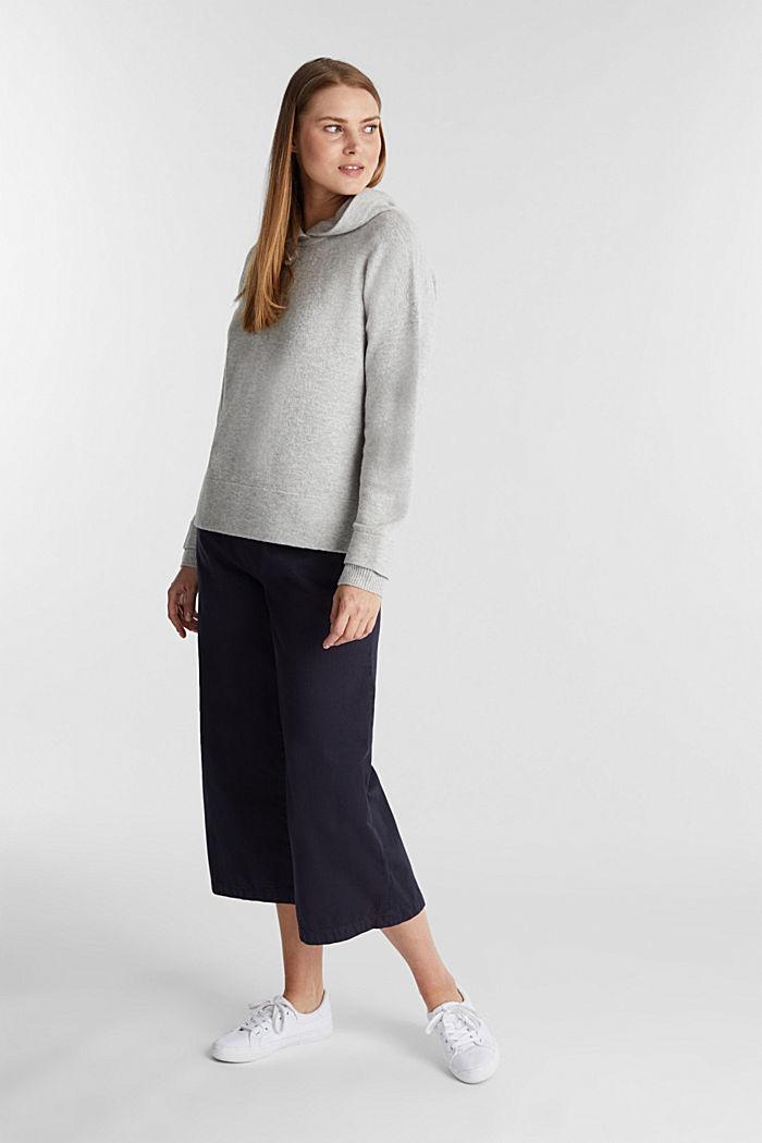 Stretch wool hoodie, LIGHT GREY, detail image number 1