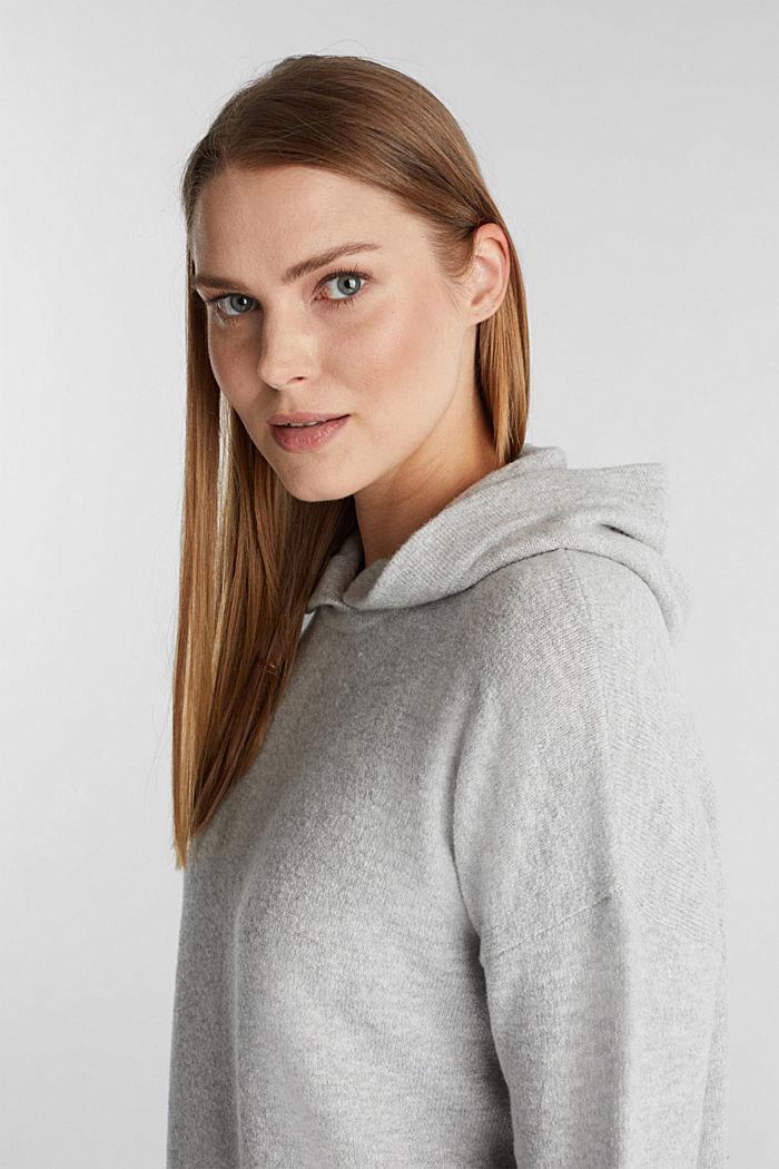 Stretch wool hoodie, LIGHT GREY, detail image number 5