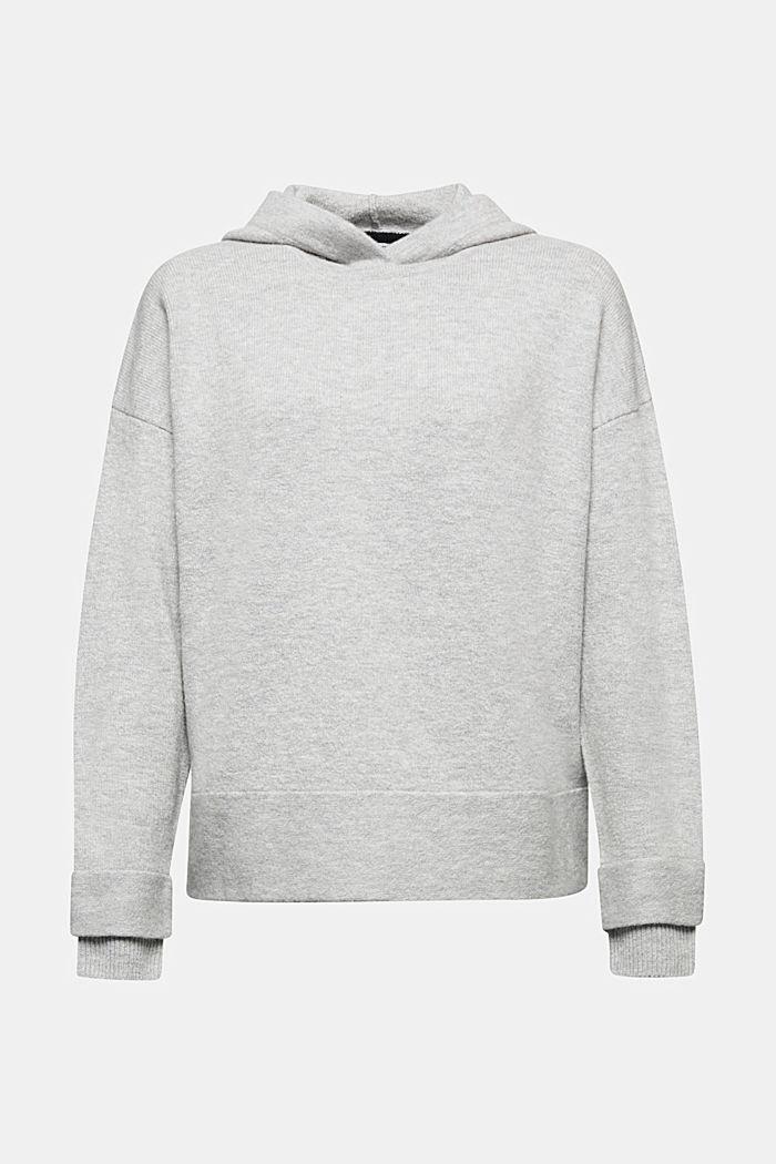 Stretch wool hoodie, LIGHT GREY, detail image number 6