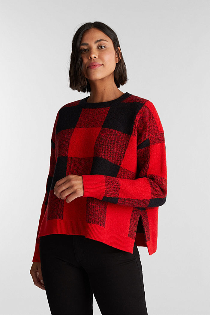Jumper with jacquard checks, RED, detail image number 0