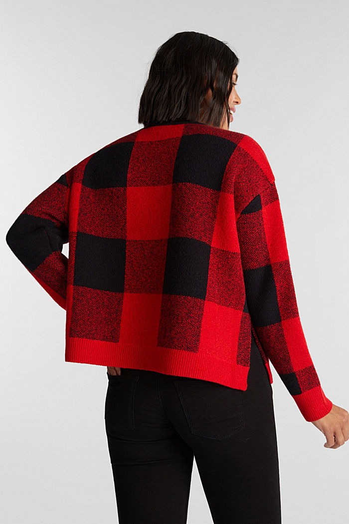 Jumper with jacquard checks, RED, detail image number 3