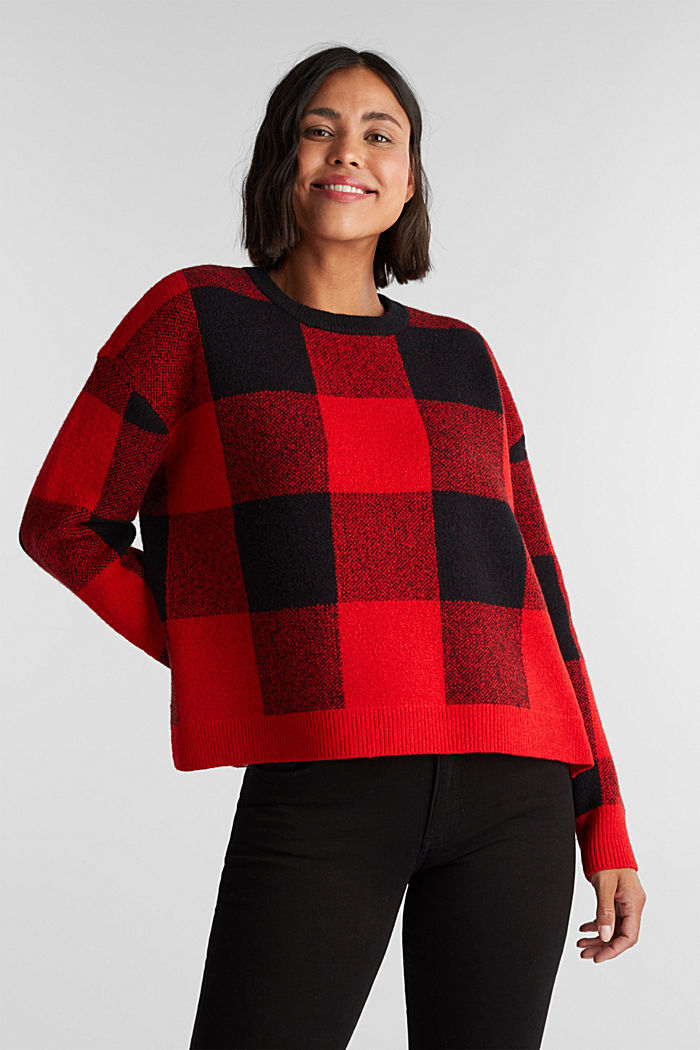 Jumper with jacquard checks, RED, detail image number 5