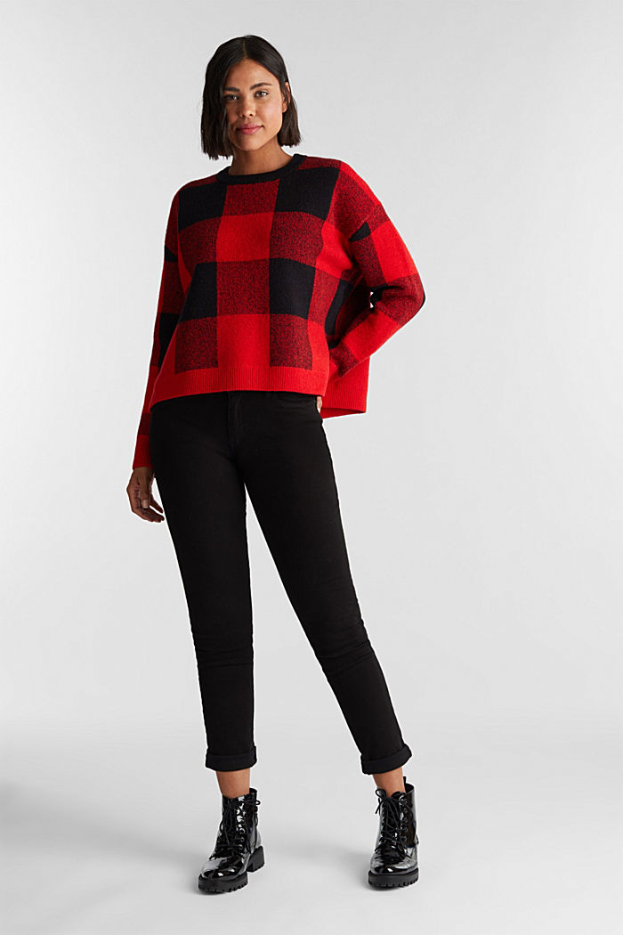 Jumper with jacquard checks, RED, detail image number 7