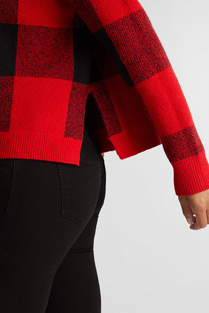Jumper with jacquard checks, RED, detail image number 2