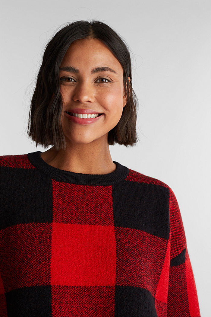 Jumper with jacquard checks, RED, detail image number 6