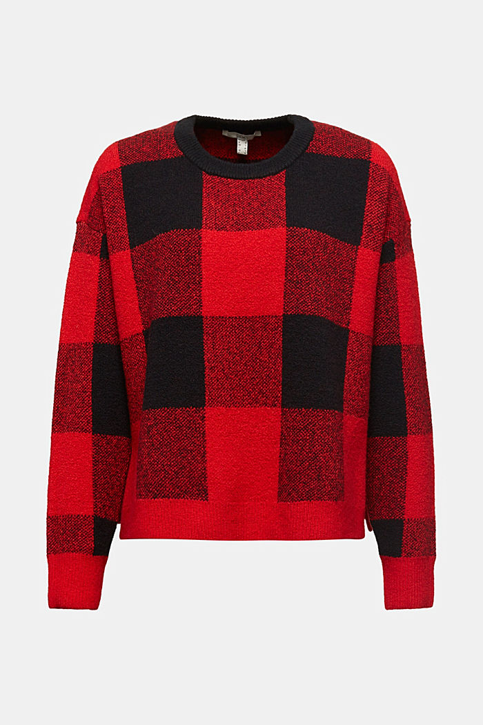 Jumper with jacquard checks, RED, detail image number 8