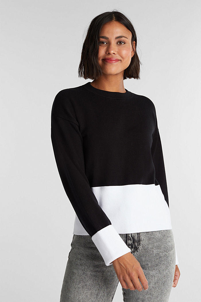 Pullover aus Baumwoll-Mix, BLACK, detail image number 0