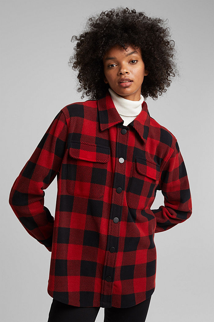 Recycled: Flannel shirt jacket with checks, RED, detail image number 0