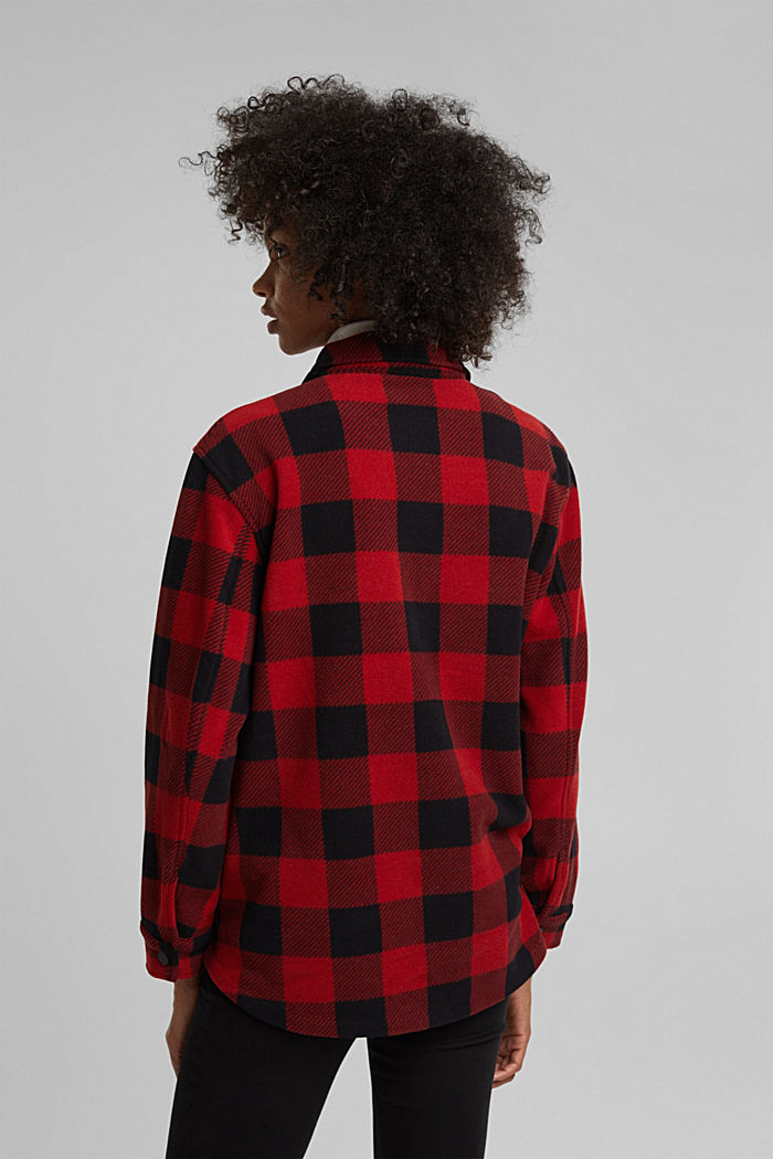 Recycled: Flannel shirt jacket with checks, RED, detail image number 3