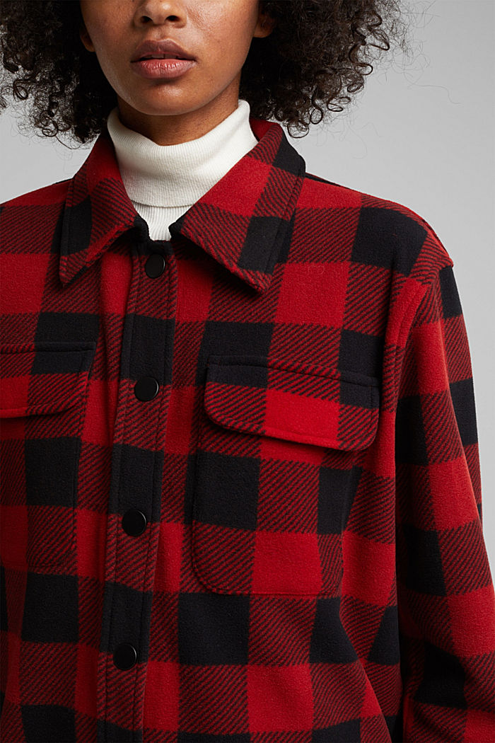 Recycled: Flannel shirt jacket with checks, RED, detail image number 2