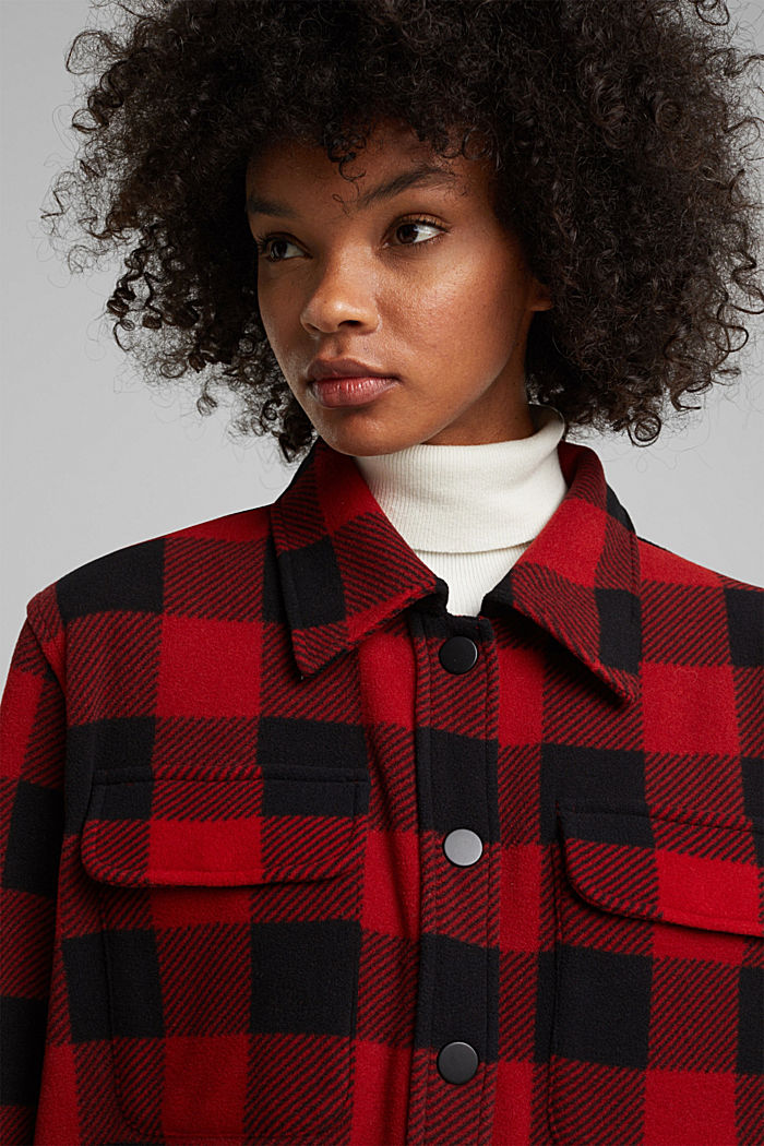 Recycled: Flannel shirt jacket with checks, RED, detail image number 5