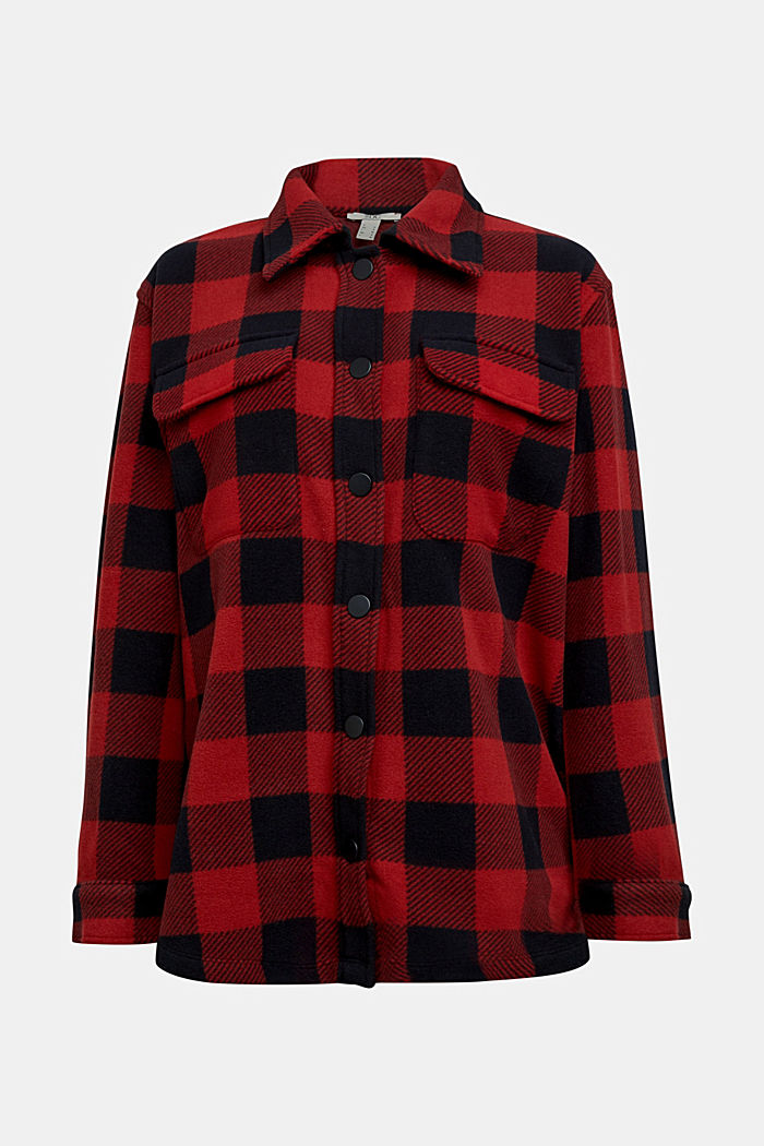 Recycled: Flannel shirt jacket with checks, RED, detail image number 6