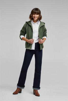 Velvety sweatshirt fabric cardigan with organic cotton, LIGHT KHAKI, detail