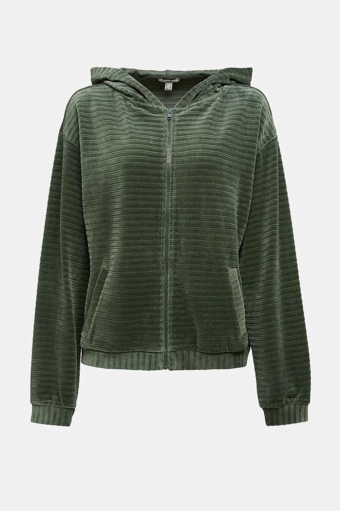 Velvety sweatshirt fabric cardigan with organic cotton