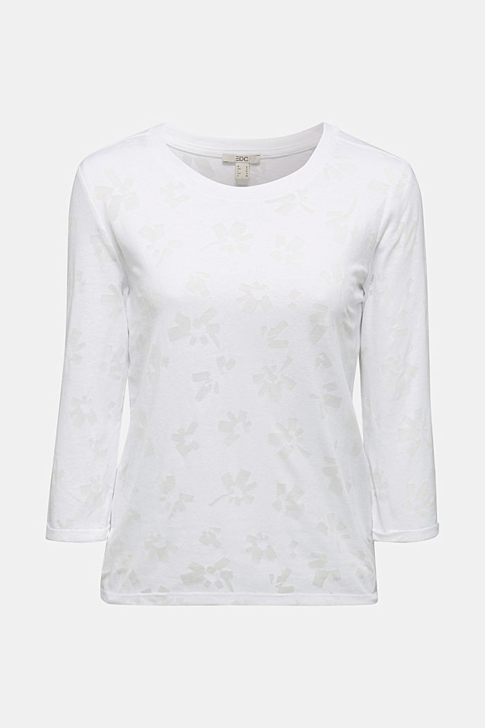 Recycled devoré top, WHITE, detail image number 5