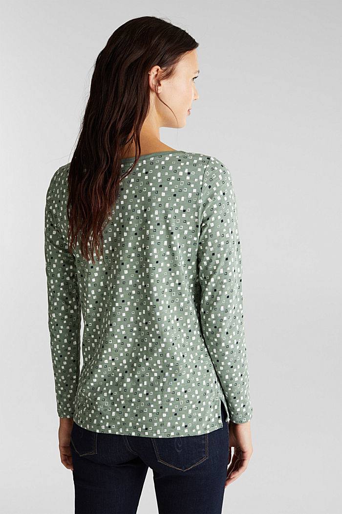 Printed long sleeve top in organic cotton, LIGHT KHAKI, detail image number 3