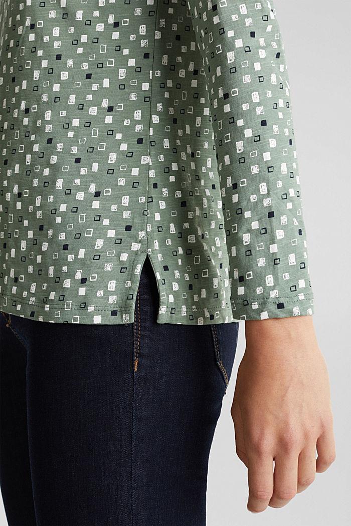 Printed long sleeve top in organic cotton, LIGHT KHAKI, detail image number 2