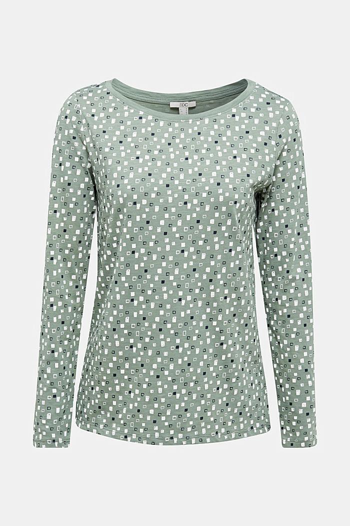 Printed long sleeve top in organic cotton, LIGHT KHAKI, detail image number 6