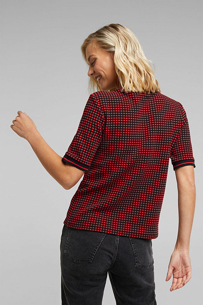 T-shirt with a popcorn texture, RED, detail image number 3