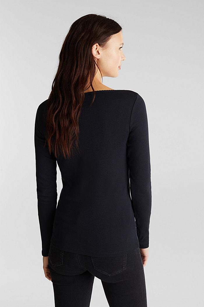 Feminine long sleeve top made of organic cotton, BLACK, detail image number 3