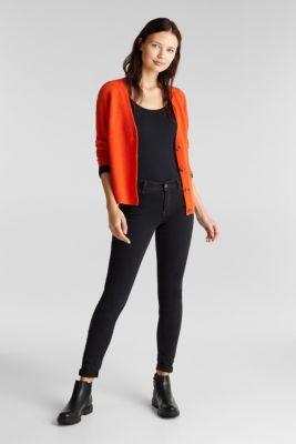 Feminine long sleeve top made of organic cotton, BLACK, detail