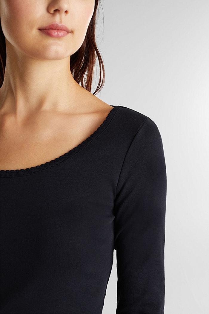 Feminine long sleeve top made of organic cotton, BLACK, detail image number 2