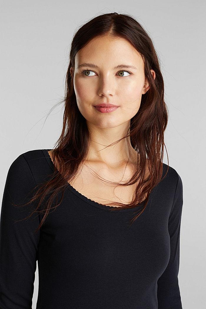 Feminine long sleeve top made of organic cotton, BLACK, detail image number 6