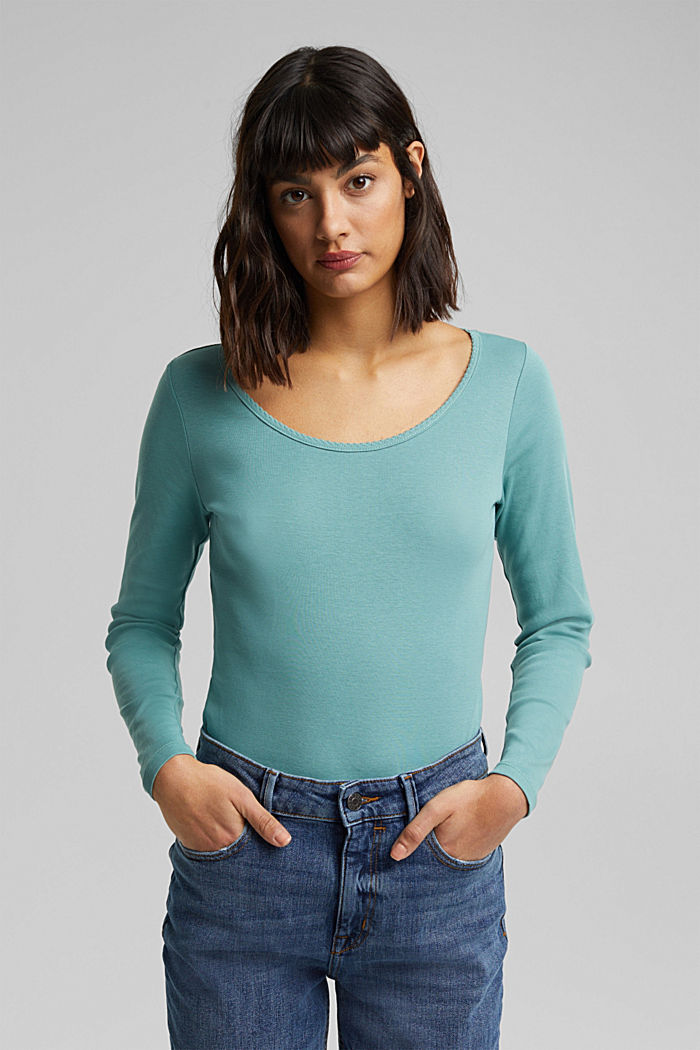 Feminine long sleeve top made of organic cotton, DUSTY GREEN, detail image number 0
