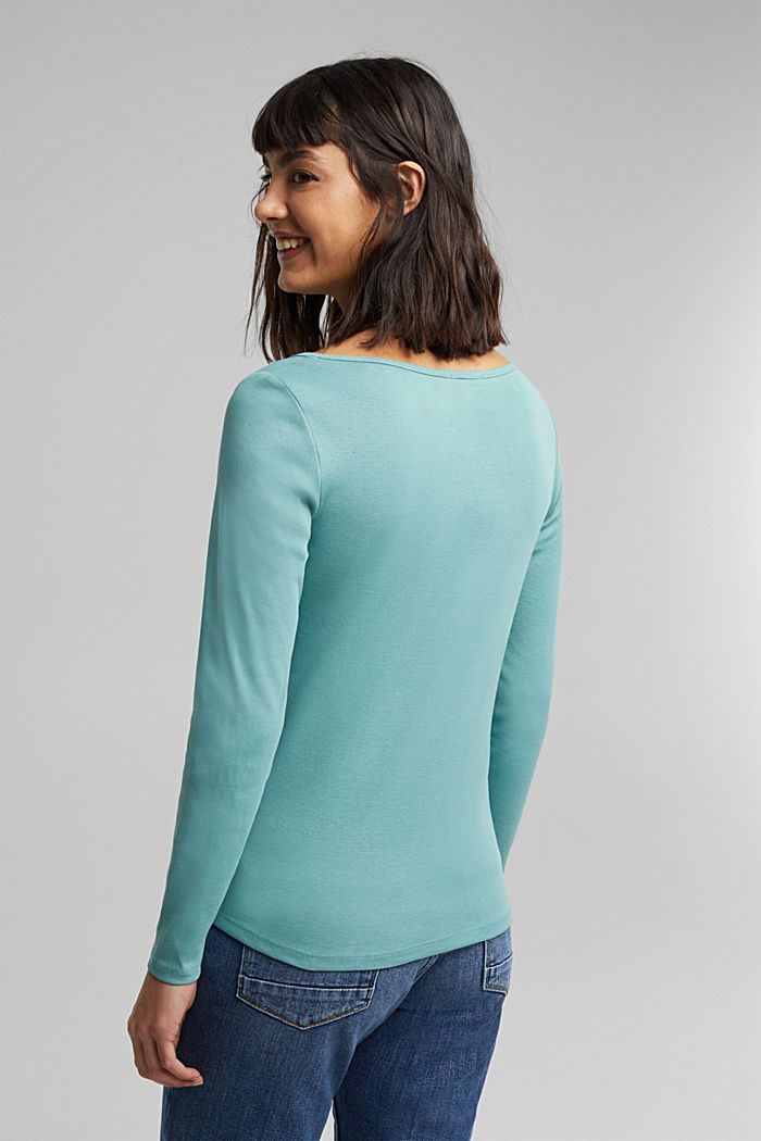 Feminine long sleeve top made of organic cotton, DUSTY GREEN, detail image number 3