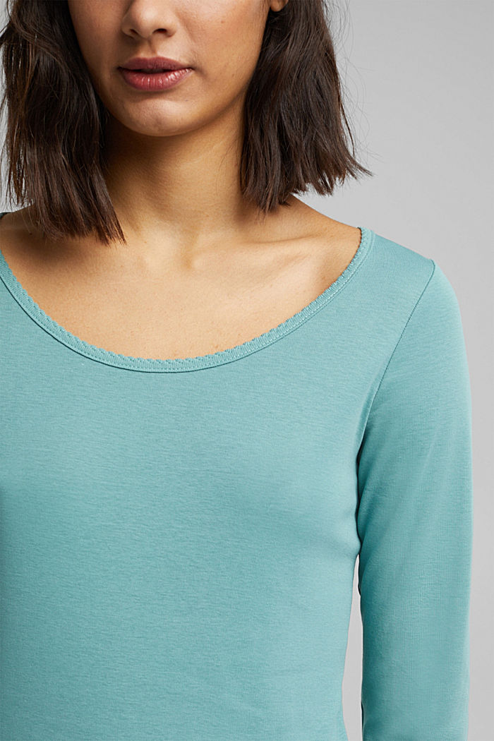 Feminine long sleeve top made of organic cotton, DUSTY GREEN, detail image number 2