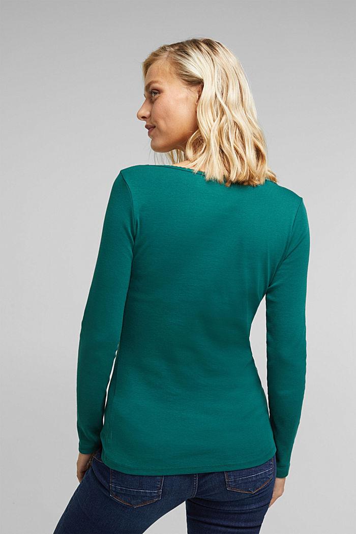 Feminine long sleeve top made of organic cotton, DARK TEAL GREEN, detail image number 3