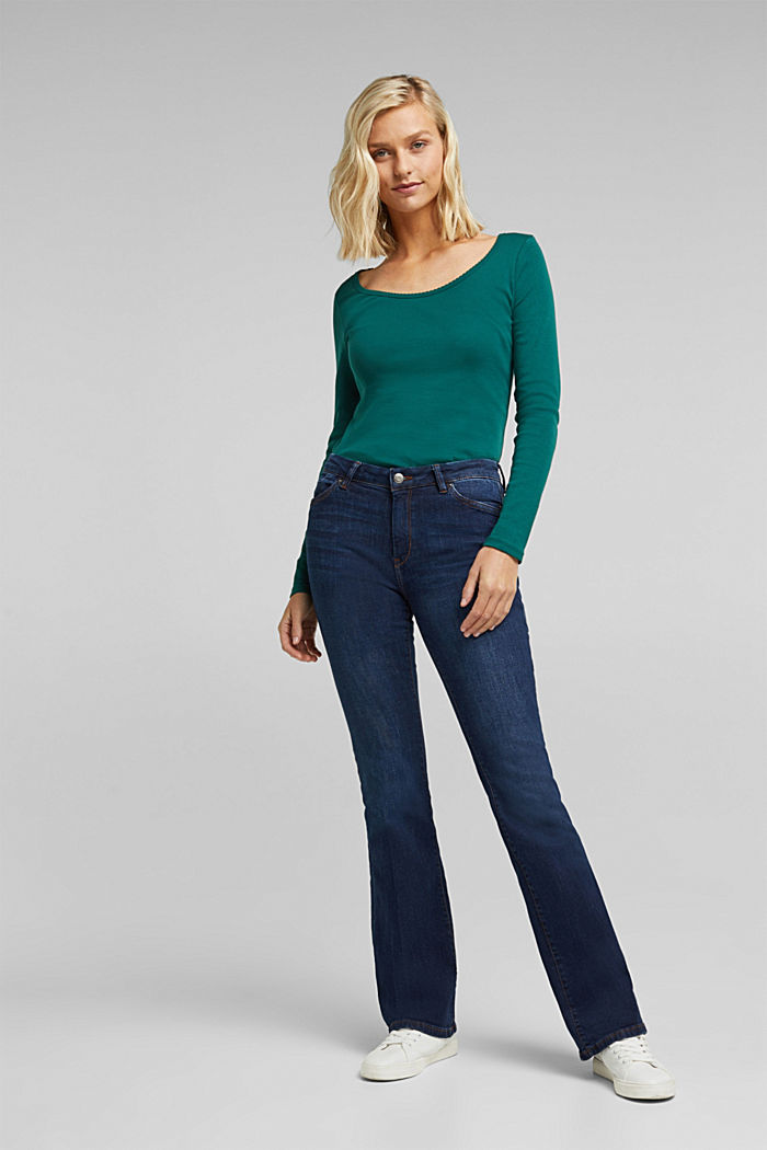 Feminine long sleeve top made of organic cotton, DARK TEAL GREEN, detail image number 1