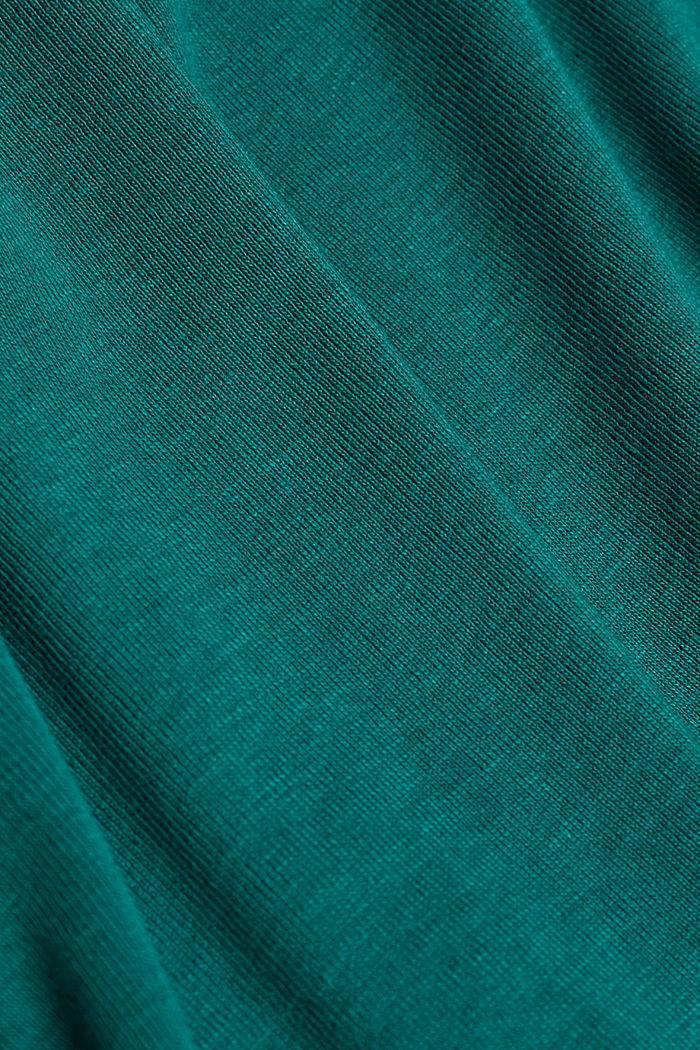 Feminine long sleeve top made of organic cotton, DARK TEAL GREEN, detail image number 4