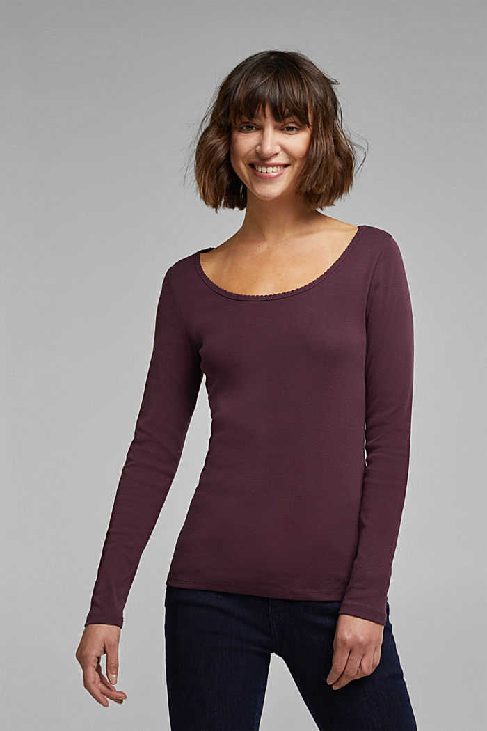 Feminine long sleeve top made of organic cotton, AUBERGINE, detail image number 0