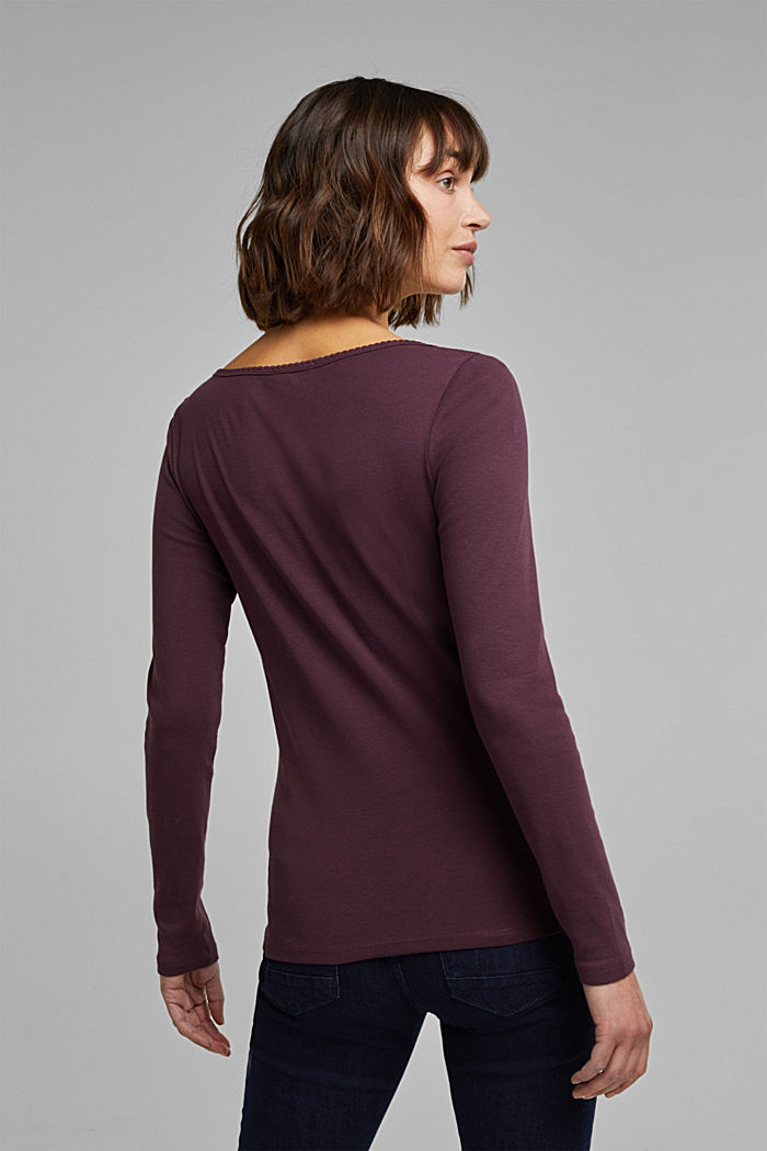 Feminine long sleeve top made of organic cotton, AUBERGINE, detail image number 3