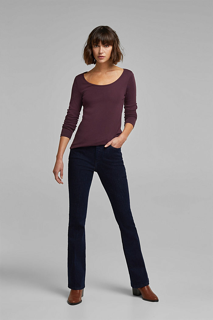 Feminine long sleeve top made of organic cotton, AUBERGINE, detail image number 1